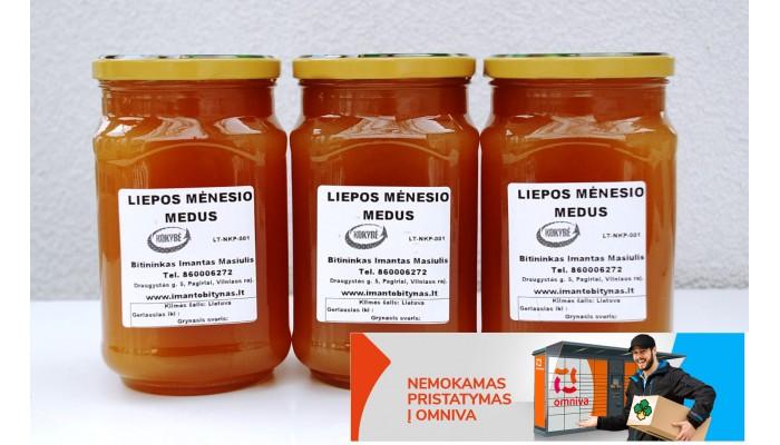 3Kg - Liepos mėnesio medus+Nemokamas pristatymas į omniva paštomatą