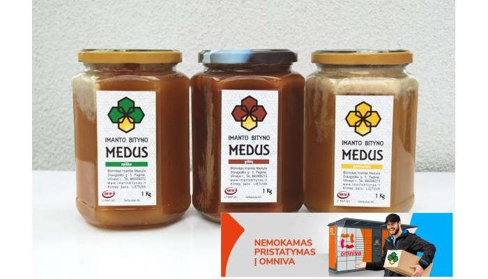 Medaus rinkinys: Miško ir aviečių medus+ Grikių medus+Liepos mėnesio medus, Viso 3Kg.